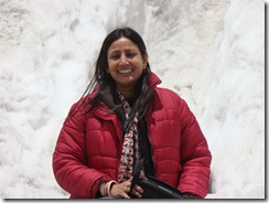 At Nathu La, Jaishree in the snow